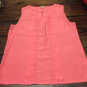 Cremieux ruffle front tank top blouse pink M